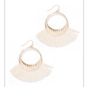 Jewelry - gold hoop drop earrings with fringe